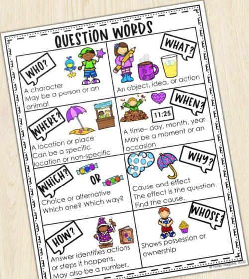 question words handout