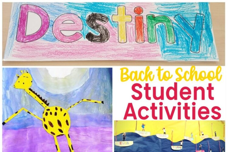 Back to School Student Activities: Name Plate, art project, bulletin board