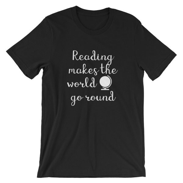 Reading makes the world go round tee black