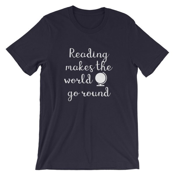 Reading makes the world go round tee navy