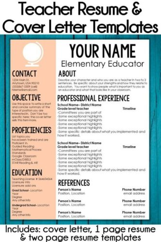 One page teacher resume template