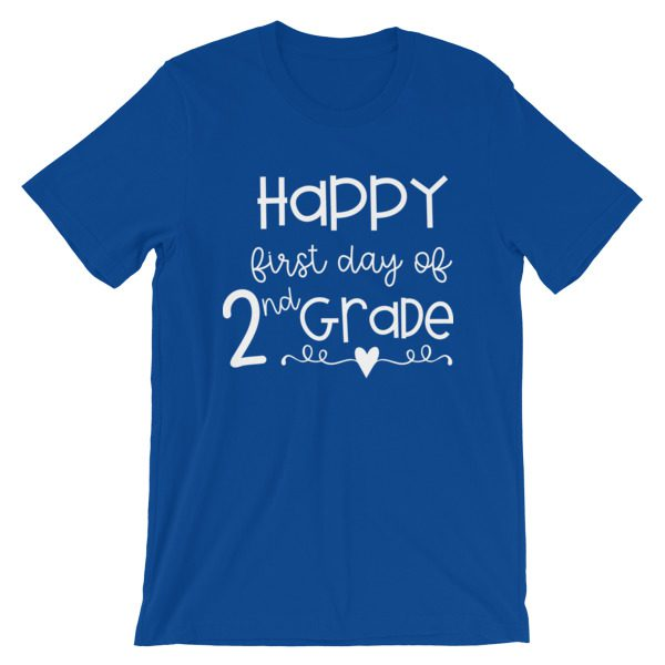 Royal Blue First Day of 2nd Grade teacher tee