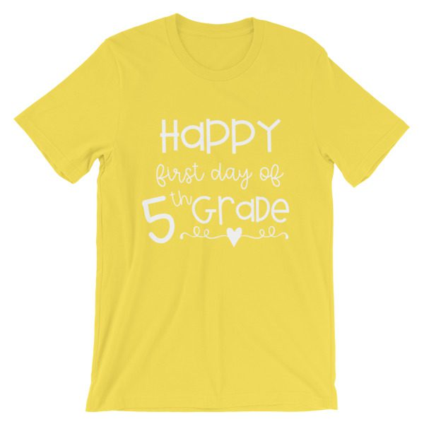 Yellow First Day of 5th Grade tee