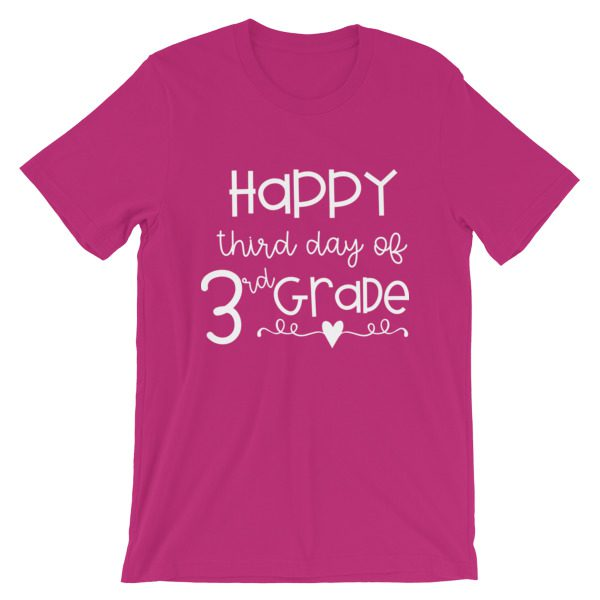 Berry pink Happy Third Day of 3rd Grade tee