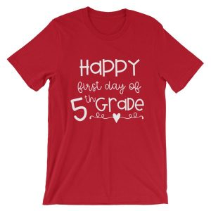 Red First Day of 5th Grade tee