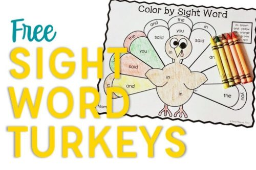 Dolch Sight Word Turkeys Example