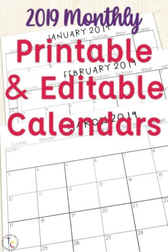 Printable & Editable Monthly Calendars for 2019