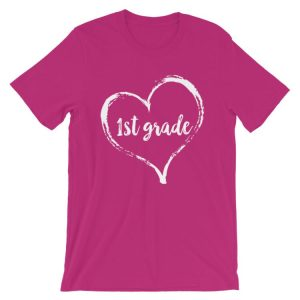Love 1st Grade tee- Berry pink with white