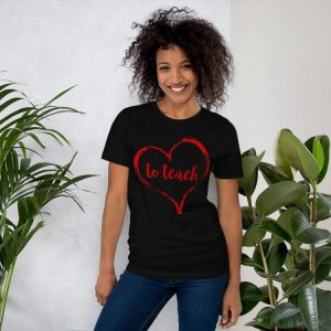 Love to Teach tee- Black with red
