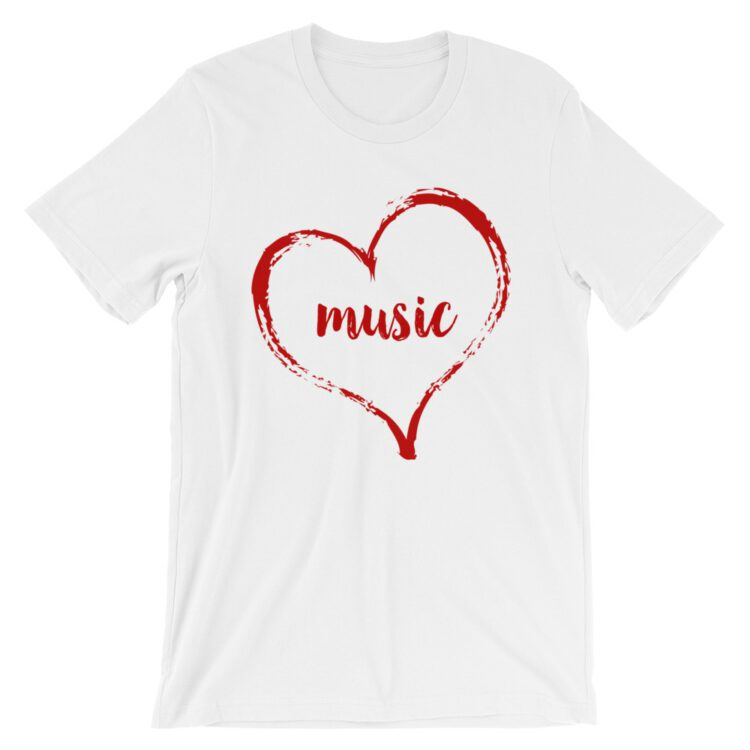 Love Music tee- White with red