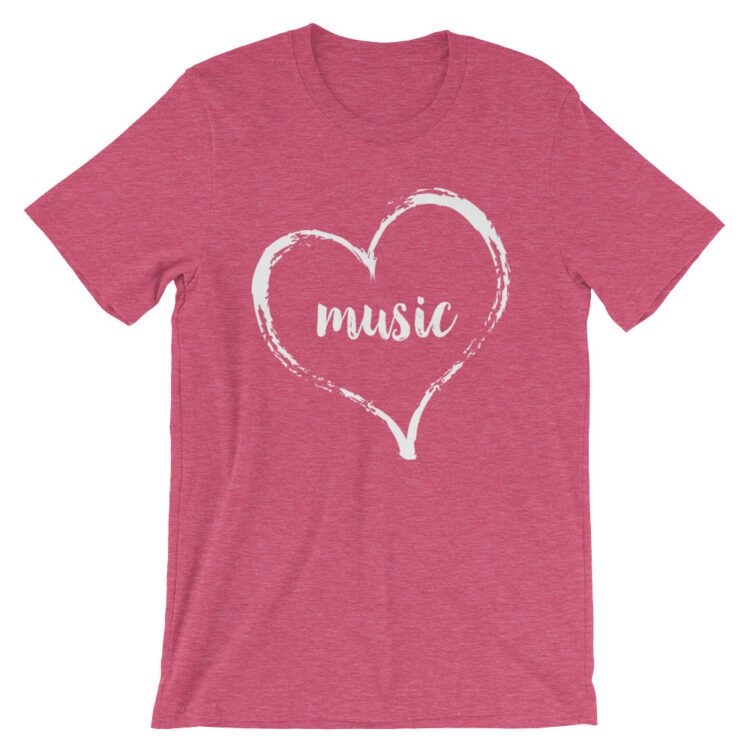 Love Music tee- Heather Raspberry Pink