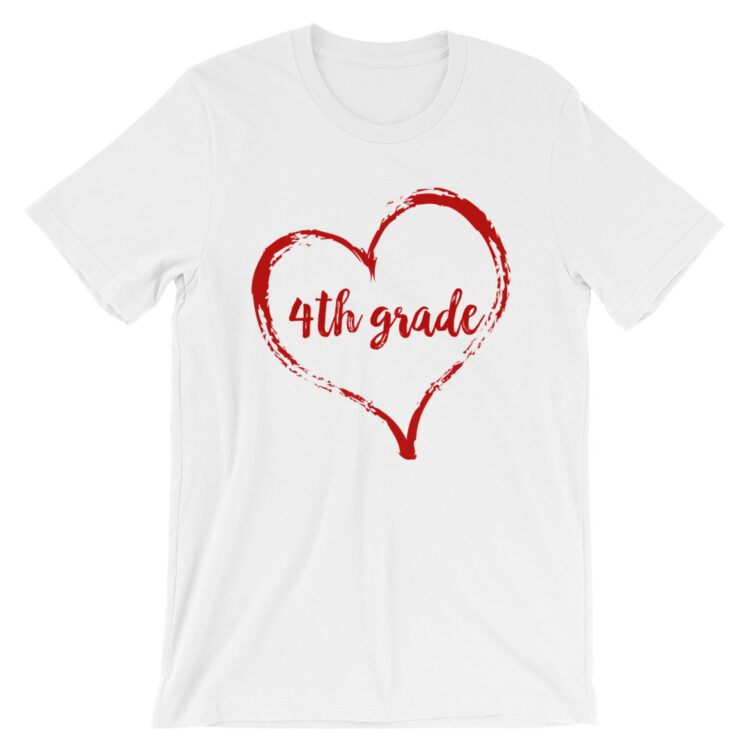 Love 4th Grade tee- White with red
