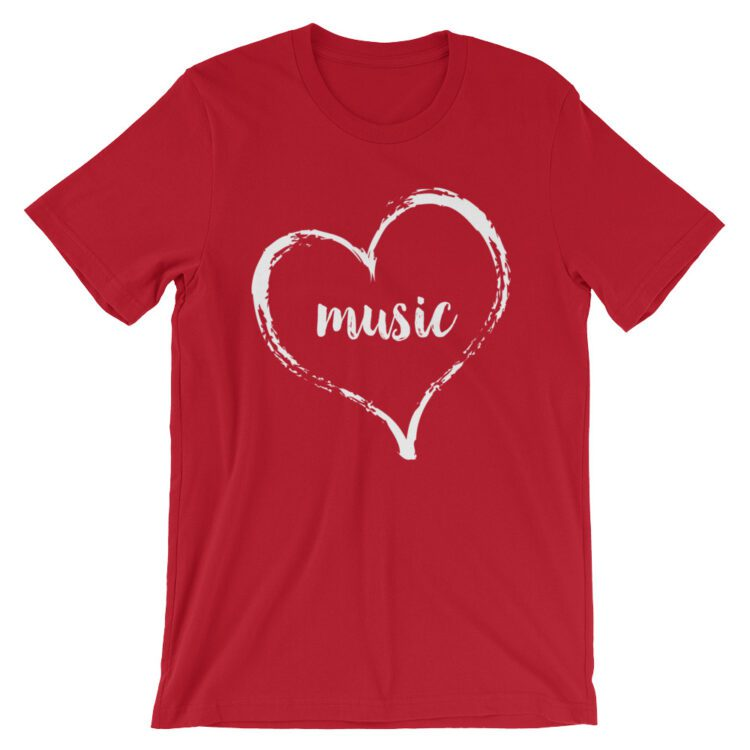Love Music tee- Red with White
