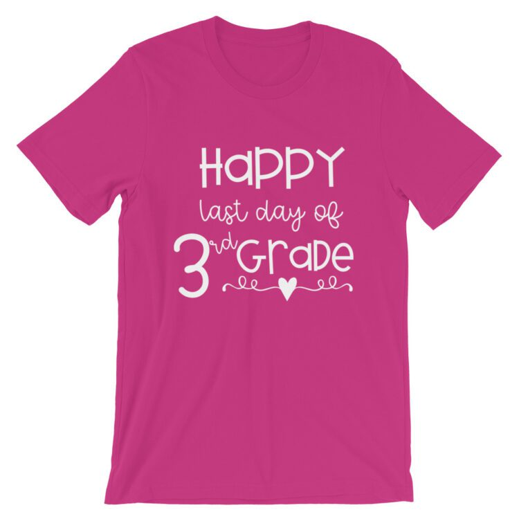 Berry Pink Last Day of 3rd Grade tee