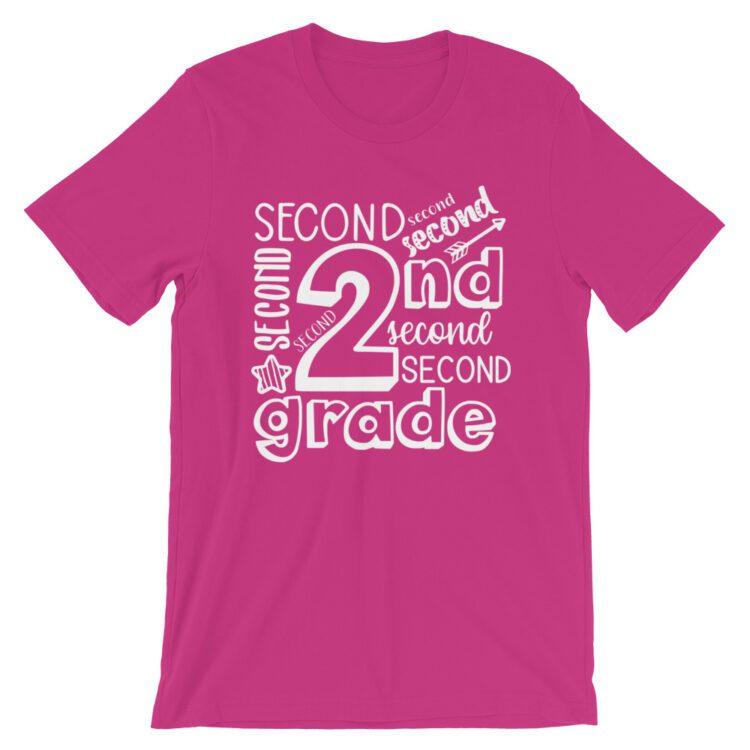 Berry Pink Doodle 2nd Grade Teacher Tee