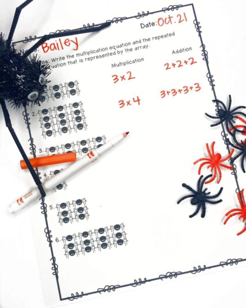 Spider Math Arrays printable