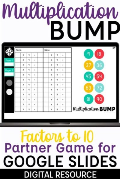 Multiplication Bump Digital Partner Game for Google Slides Multiplication Factors to 10