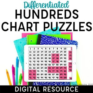 Differentiated Hundreds Chart Puzzles in Google Slides on a tablet