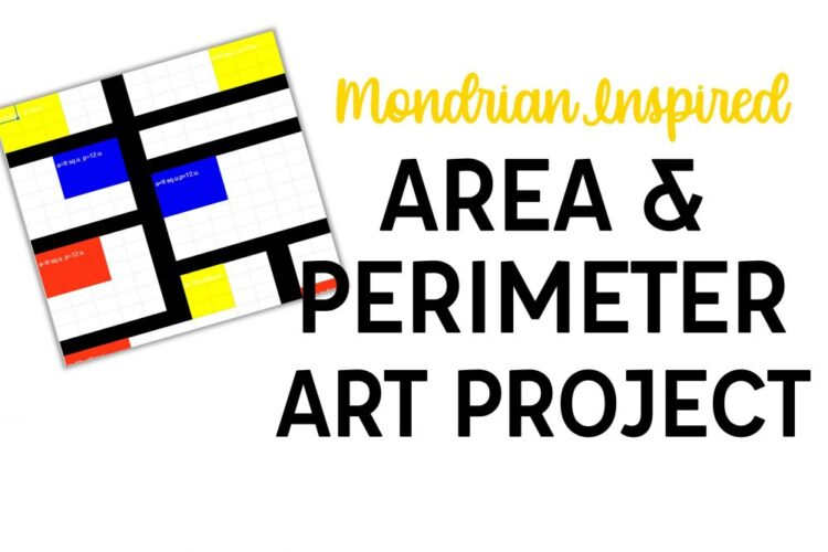 "Mondrian art image and ""Mondrian Inspired Area and Perimeter Art Project"" text"