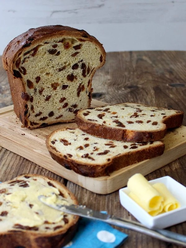 "Guernsey Gâche (pronounced ""Gosh"") is a traditional fruit bread made with an enriched yeast dough and plenty of dried fruit. The perfect teatime treat or toasted for breakfast."