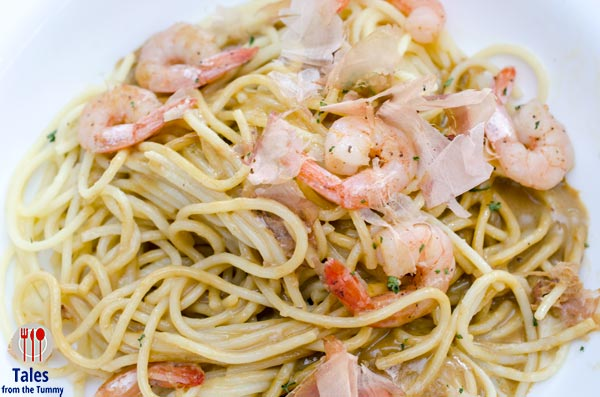 Dulcelin Gourmet Uni and shrimp pasta
