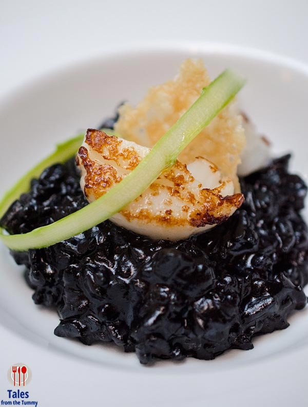 VASK Manila Dining Room Scallops and Black Ink Risotto