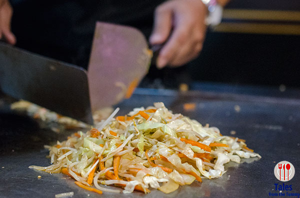Stir fried cabbage, bean sprouts and carrots