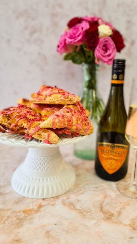 Apricot, Raspberry & Prosecco Turnovers with Rose water Icing Valentine