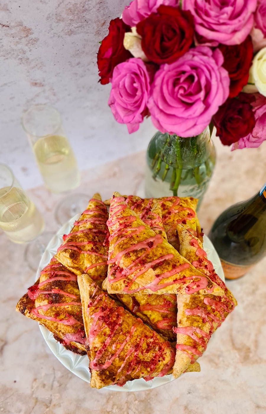 Apricot, Raspberry & Prosecco Turnovers with Rose water Icing