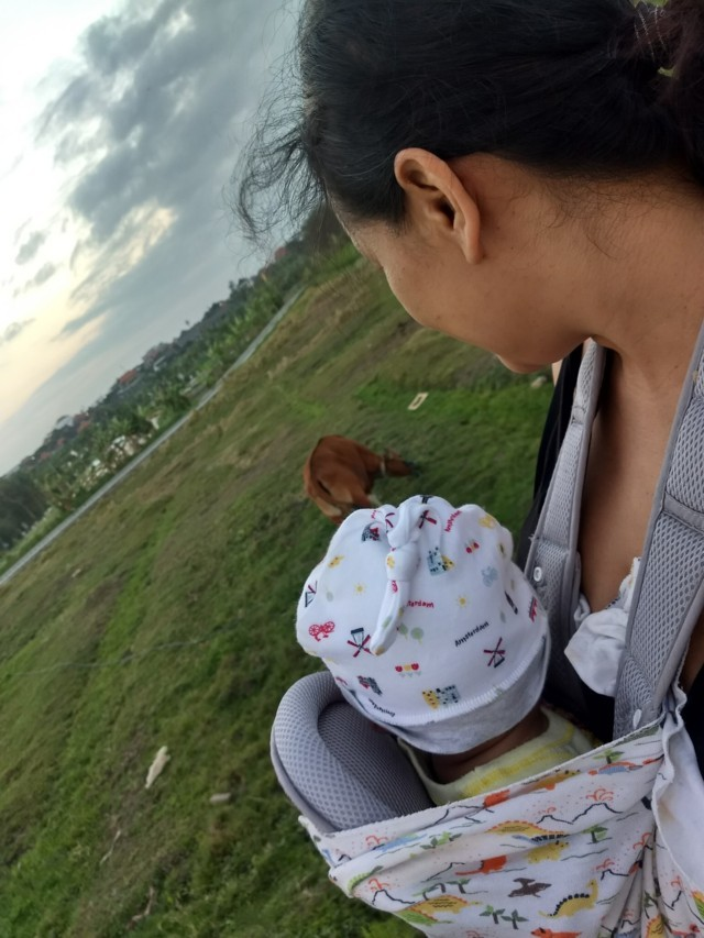Bali with a baby in the countryside