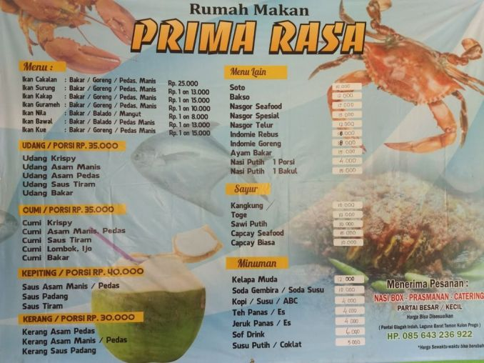 Food Menu at the beach of yogyakarta