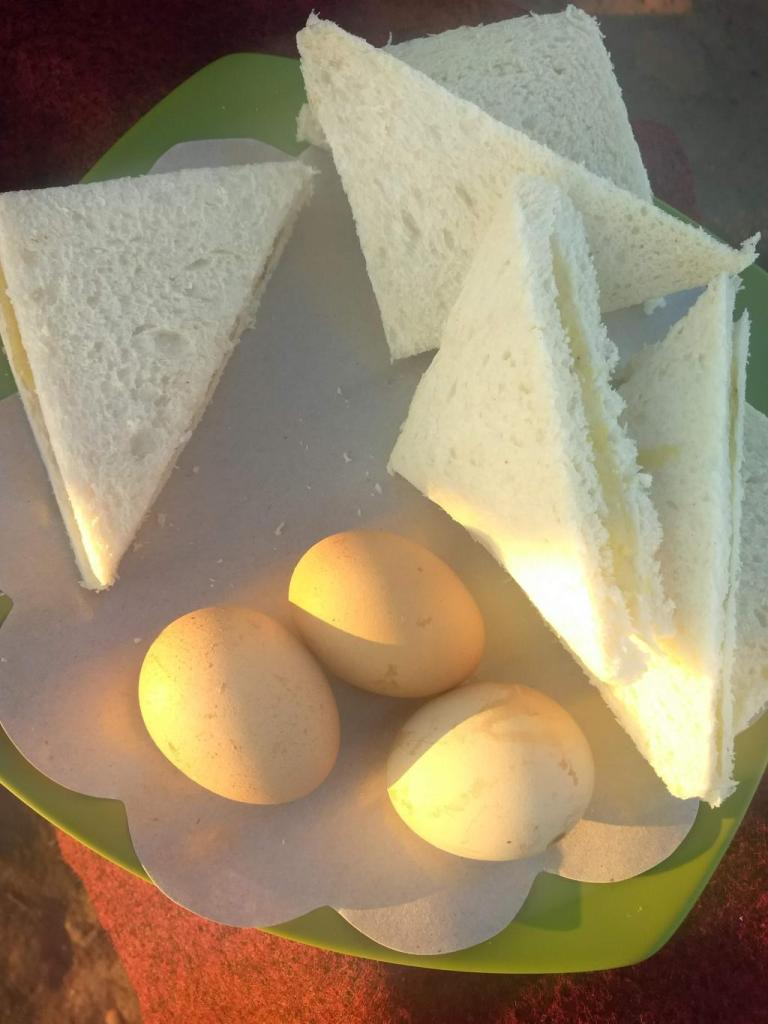 Food at mount batur sunrise trek. Boiled egg and banana sandwich