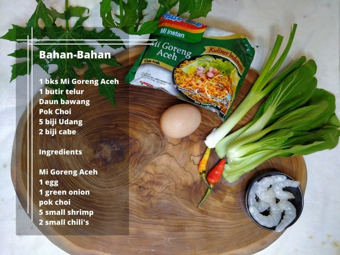 ingredients for instant mie goreng aceh