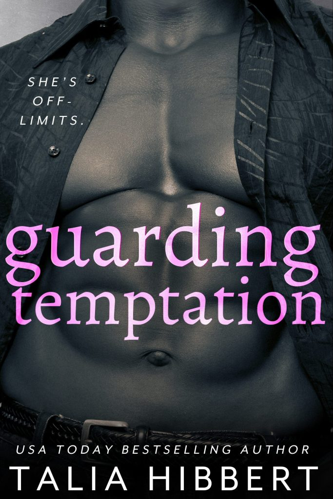 The cover of guarding temptation, which shows the muscular torso of a black man in greyscale