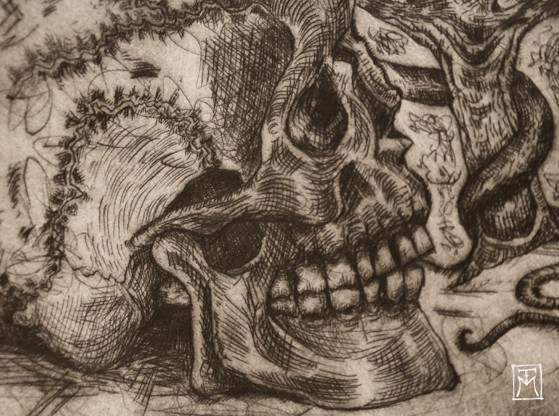 Skull Study Etching (detail)