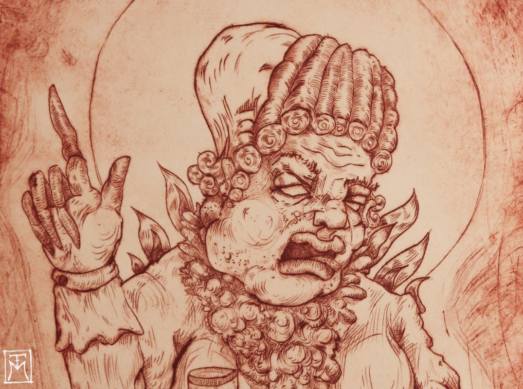 """""""Lord Walter"""" Macabre Etching (details)"""