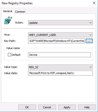 Hive: HKCU   Key Path: SOFTWARE\Microsoft\Windows NT\CurrentVersion\Windows   Value Name: Device   Value Type: REG_SZ   Value Data: PrinterQueueName,winspool,Ne01: