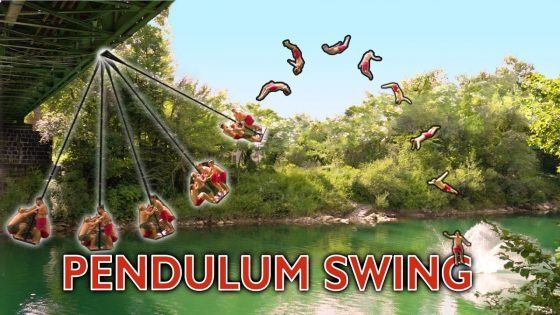 Daredevils built a giant pendulum swing to create amazing water circus