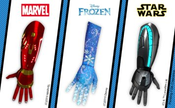 Open Bionics Iron Man and Elsa-themed hands