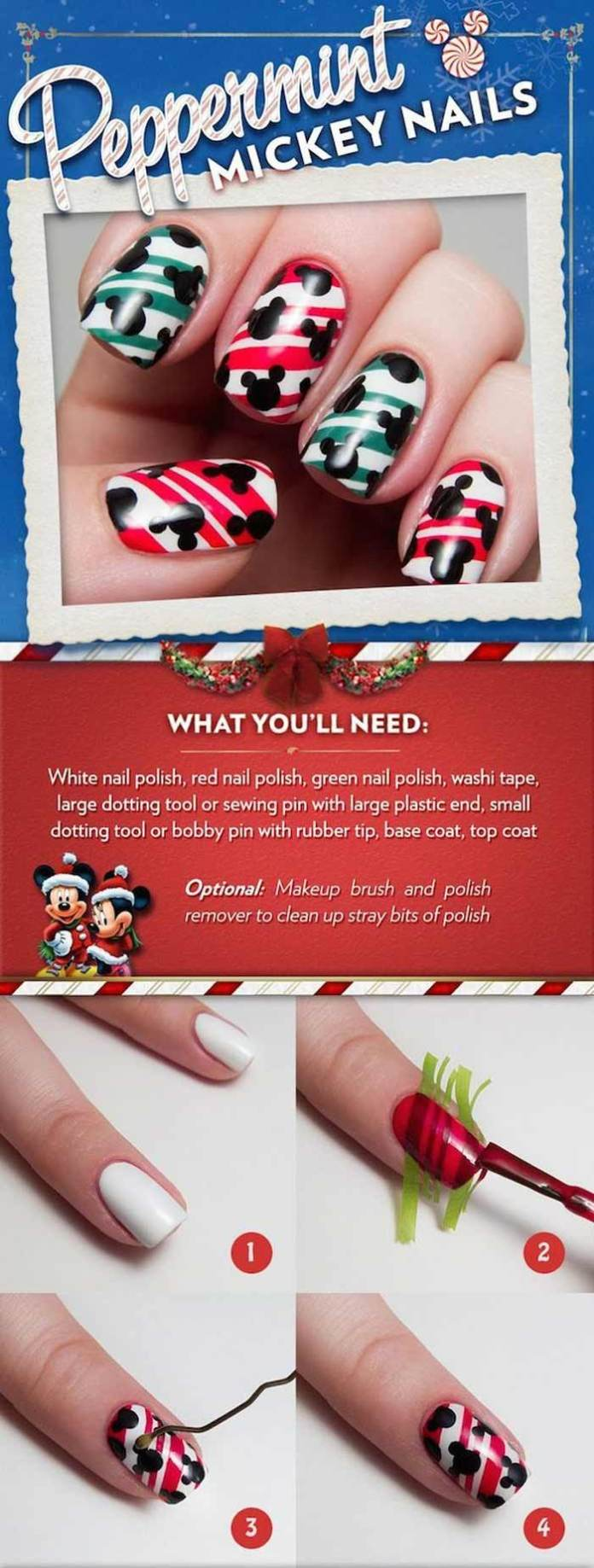 Holiday How To Paint Your Nails Peppermint Mickey This Holiday