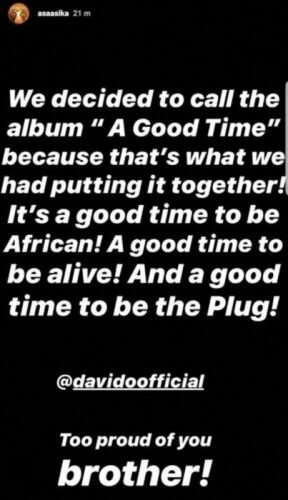"""Davido unveils the title of his forthcoming album """"A Good Time"""", see reason"""