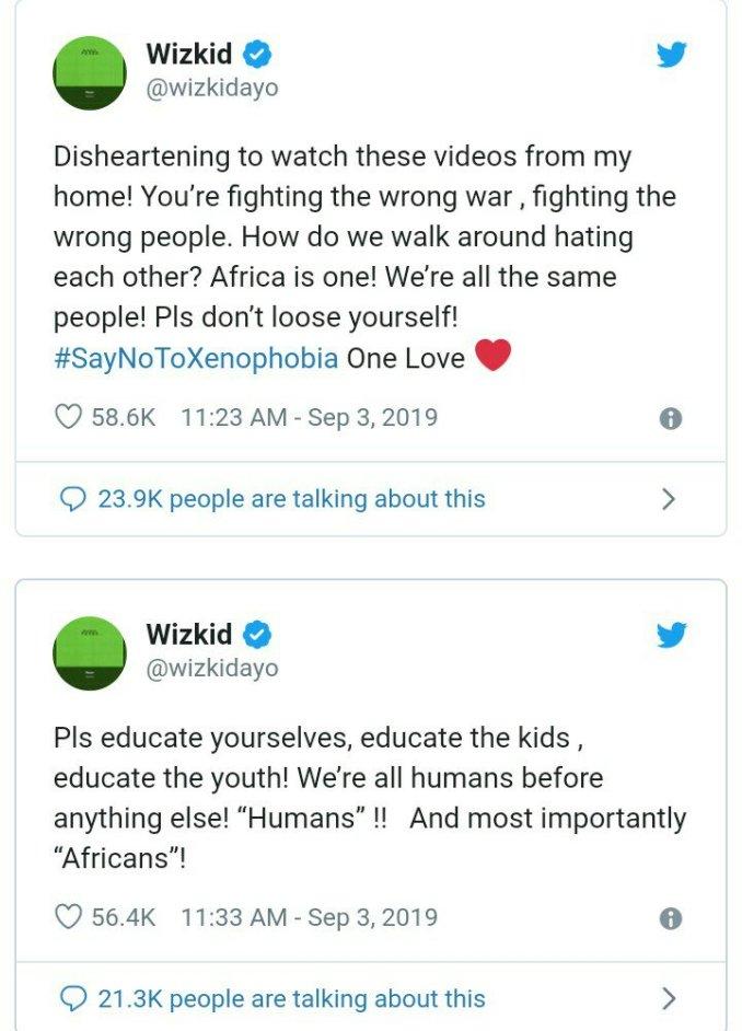 Wizkid condemns Xenophobia, advises Africans