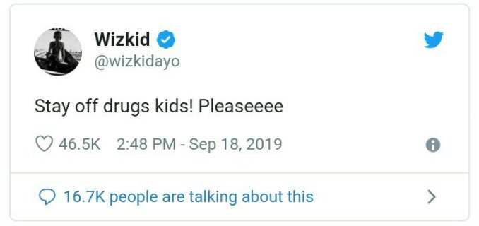 Wizkid begs young ones to stay off drugs
