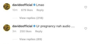 Davido reacts to pregnancy allegation put on him