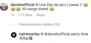 Davido confirms all Naira Marley's songs are sweet, see his tweet