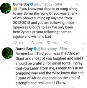 Burna Boy insists nobody paved way for him aside his family and Fela