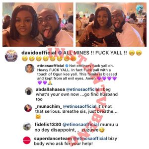"Nigerians throw shades on actress, Etinosa for supporting Davido's statement ""Fuck Yall"""