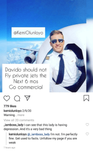 Kemi Olunloyo warns Davido not to fly Private Jet for the next 6 months