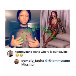 Davido's tattoo gets missing in between Tacha's b**bs (photo)