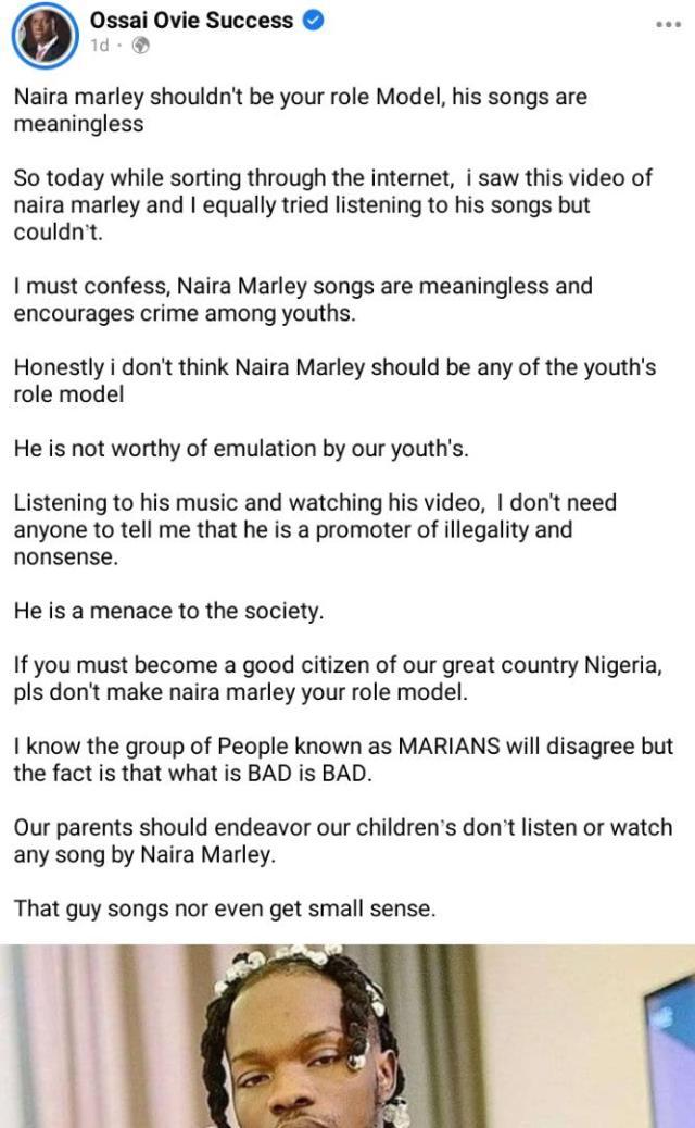 Gov Okowa's aide, Ovie attacks Naira Marley on social media